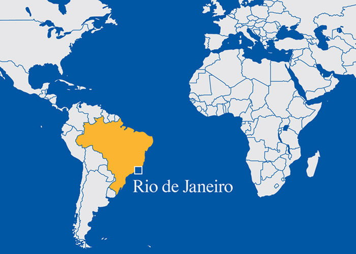 map showing location of Rio in Brazil