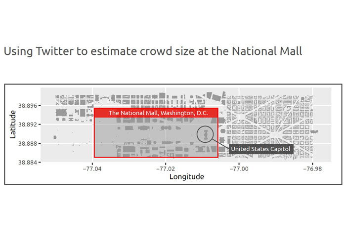 Diagram showing area of National Mall monitored