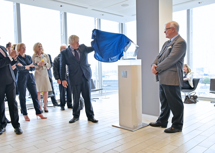 Boris Johnson unveils plaque at WBS London The Shard