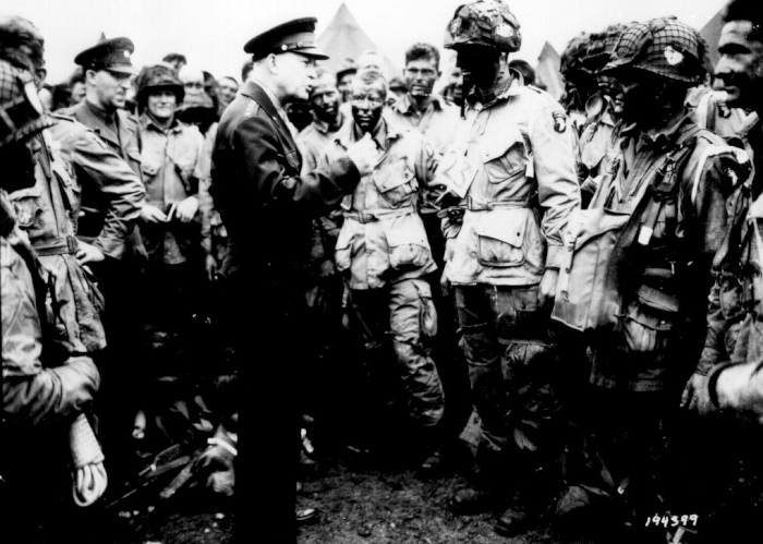 Eisenhower talking to troops