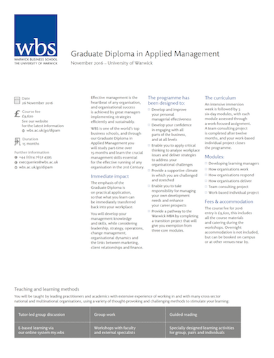 Warwick Business School's Graduate Diploma in Applied Management Programme information