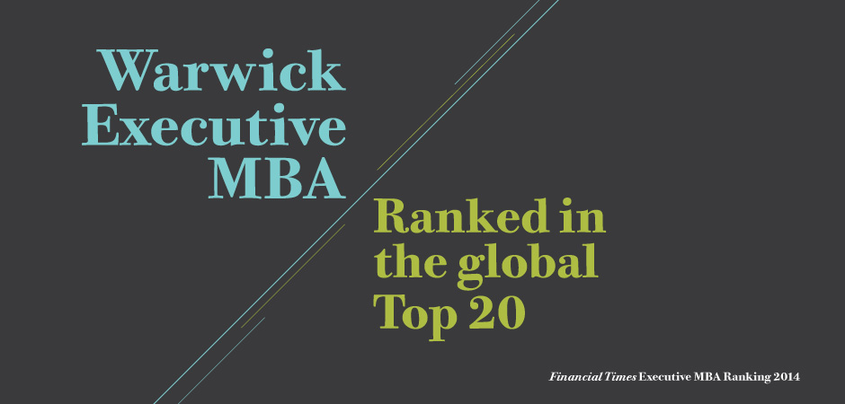 The Warwick Executive MBA rises to the world's Top 20...