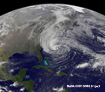 Satellite image of Hurricane Sandy heading to New Jersey